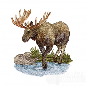 Thirsty Moose North Woods Autumn Embroidery Design