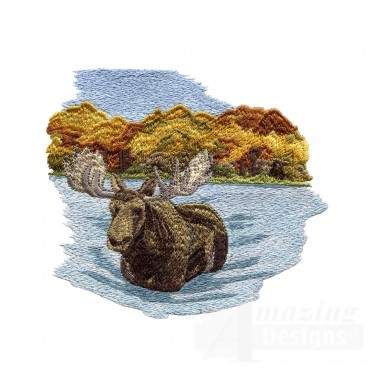 Moose In River North Woods Autumn Embroidery Design