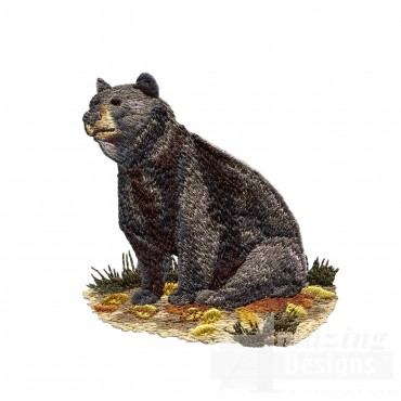 Sitting Bear North Woods Autumn Embroidery Design