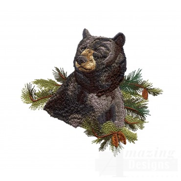 Bear North Woods Autumn Embroidery Design
