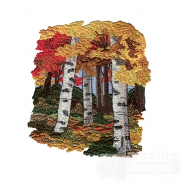 Scenic Forest North Woods Autumn Embroidery Design