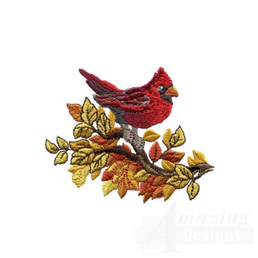 Cardinal North Woods Autumn Embroidery Design