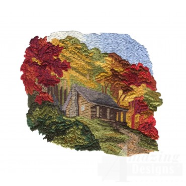 Scenic Cabin North Woods Autumn Embroidery Design