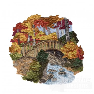 Scenic Bridge North Woods Autumn Embroidery Design