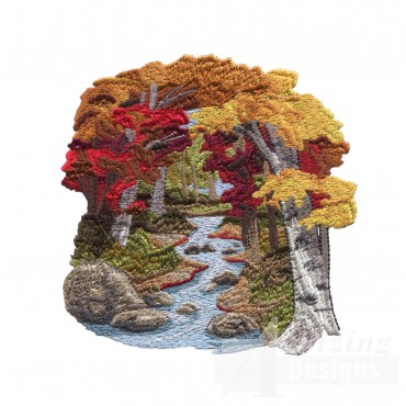 Scenic Stream North Woods Autumn Embroidery Design