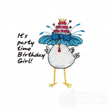 Chks101 Birthday Chicks Embroidery Design