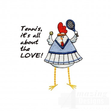Chks116 Tennis Chick Embroidery Design