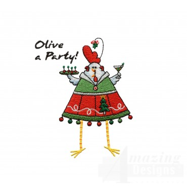Chks117 Party Chick Embroidery Design
