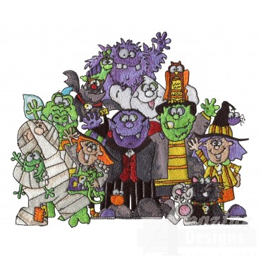 The Halloween Gang Embroidery Design