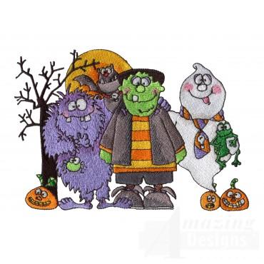Frankenstein Monster Ghost Embroidery Design