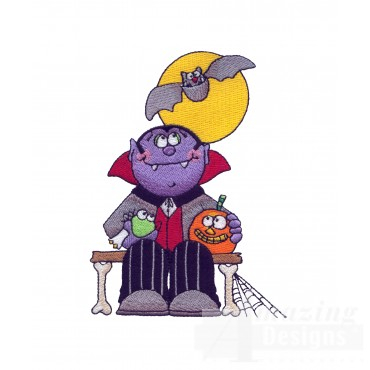 Dracula On Bench Halloween Embroidery Design