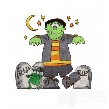 Frankenstein In Graveyard Embroidery Design