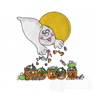 Ghost Candy Halloween Embroidery Design