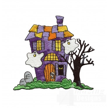 Haunted House Halloween Embroidery Design
