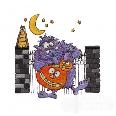 Monster And Pumpkin Halloween Embroidery Design