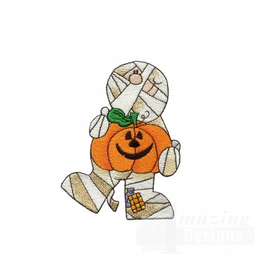 Mummy And Pumpkin Halloween Embroidery Design
