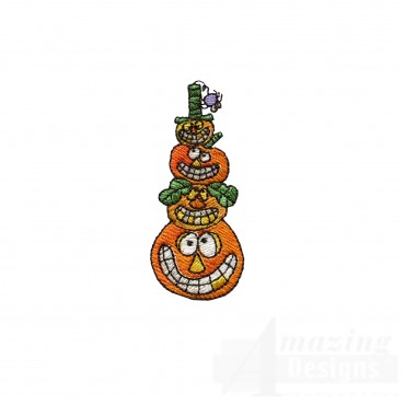 Stacked Pumpkins Halloween Embroidery Design