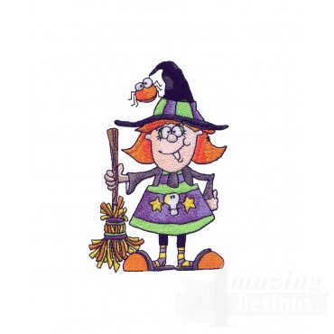 Witch And Broom Halloween Embroidery Design