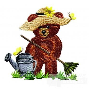 Swnbear102 Gardening Bear Embroidery Design