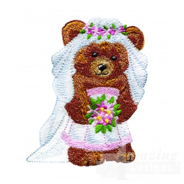 Swnbear107 Bride Bear Embroidery Design