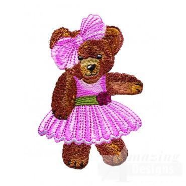 Swnbear110 Pink Dress Bear Embroidery Design