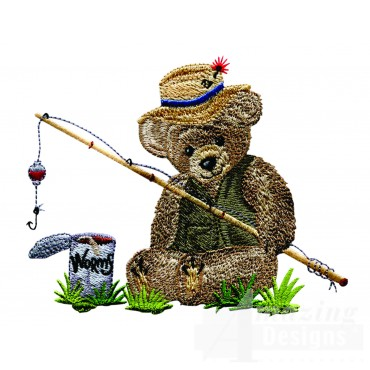 Swnbear132 Fishing Bear Embroidery Design