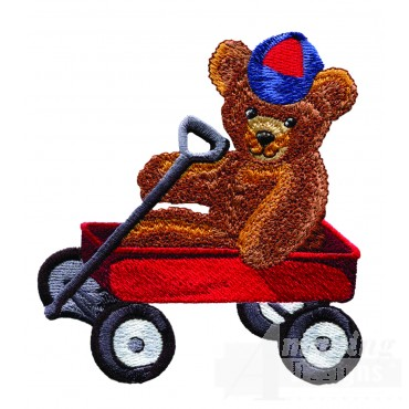Swnbear138 Red Wagon Bear Embroidery Design