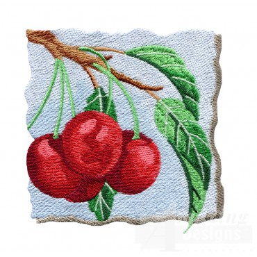 Cherries On The Tree Embroidery Design