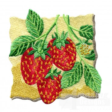 Strawberries On The Vine Embroidery Design