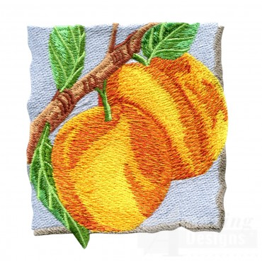 Peaches On The Tree Embroidery Design