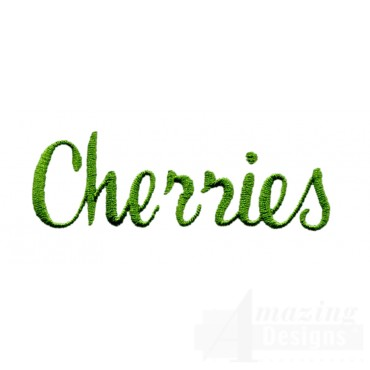 Cherries Word Embroidery Design