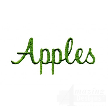 Apples Word Embroidery Design