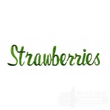 Strawberries Word Embroidery Design