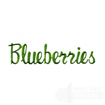 Blueberries Word Embroidery Design
