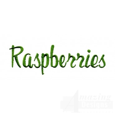Raspberries Word Embroidery Design