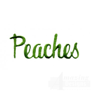 Peaches Word Embroidery Design