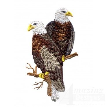 Eagles On Branch Embroidery Design