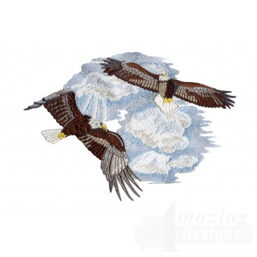 Flying Eagles In Clouds Embroidery Design