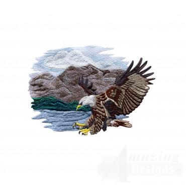 Striking Eagle Scene Embroidery Design