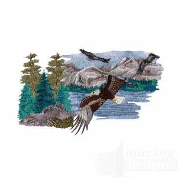 Flying Eagle Mountain Scene Embroidery Design