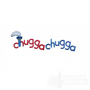 Chugga Chugga Words Embroidery Design