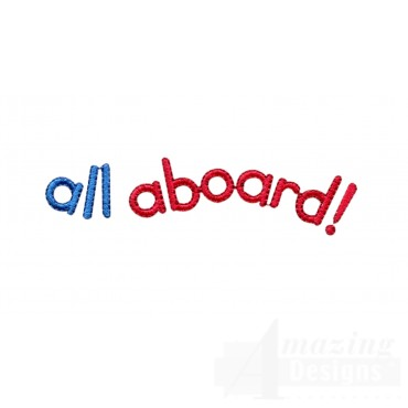 All Aboard Words Embroidery Design