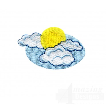 Sun And Clouds Embroidery Design