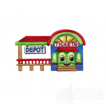 Train Depot Embroidery Design