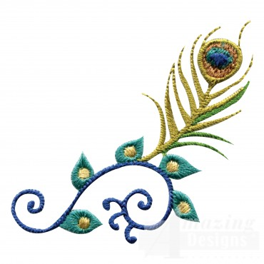 Swnpa103 Feather Scroll Embroidery Design