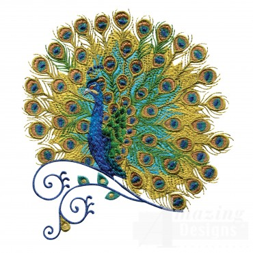Swnpa131 Peacock Embroidery Design