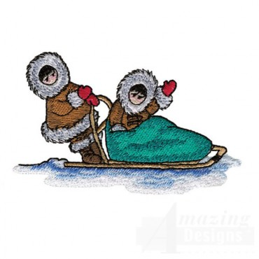 Eskimos With Sled