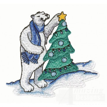 Polar Bear Decorating Tree