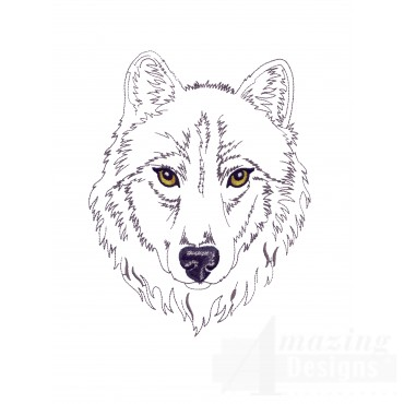 Swnmw123 Outline Wolf Embroidery Design