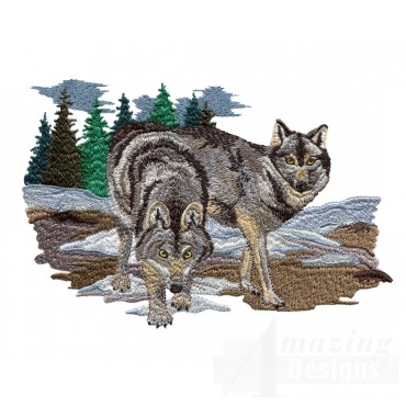 Swnmw127 Wolf Embroidery Design